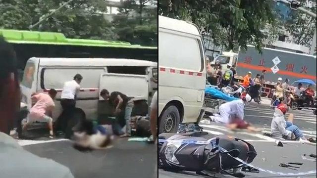 راننده چینی عابران پیاده را زیر گرفت